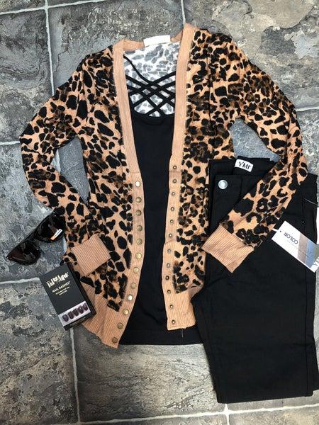 2156 Leopard Print Snap Button Cardigan
