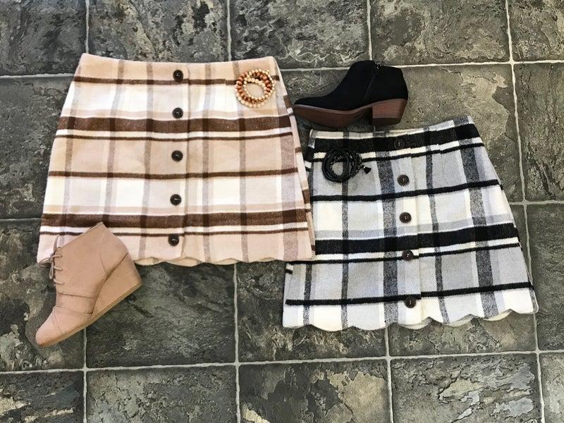 Plaid Button Down Skirts