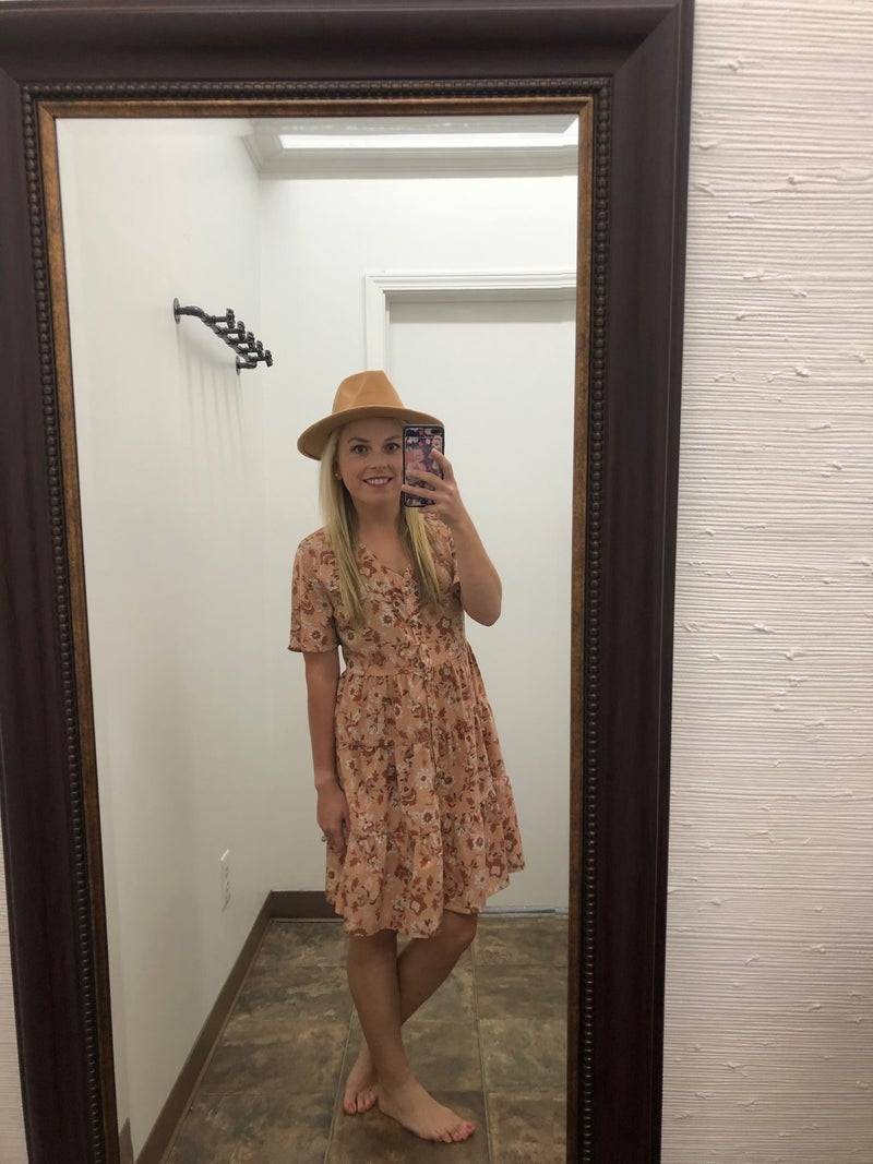 Ruffled fall floral dress