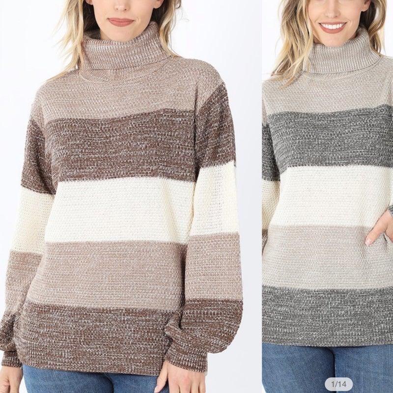 2154 Color Block Turtleneck (Grey or Mocha)