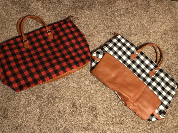 Buffalo plaid large weekender bag