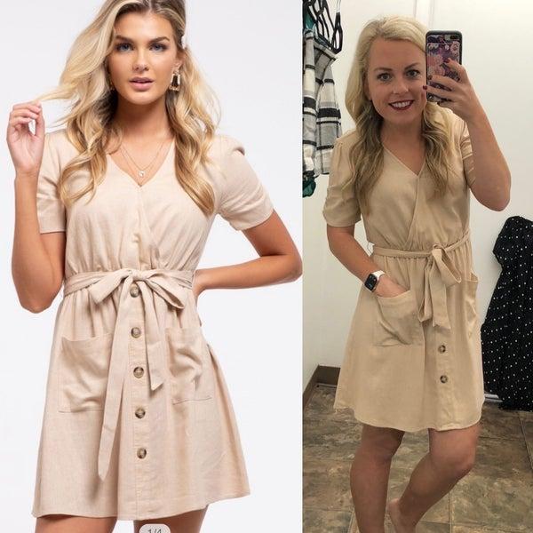 Khaki Wrap Pocket Skirt Dress