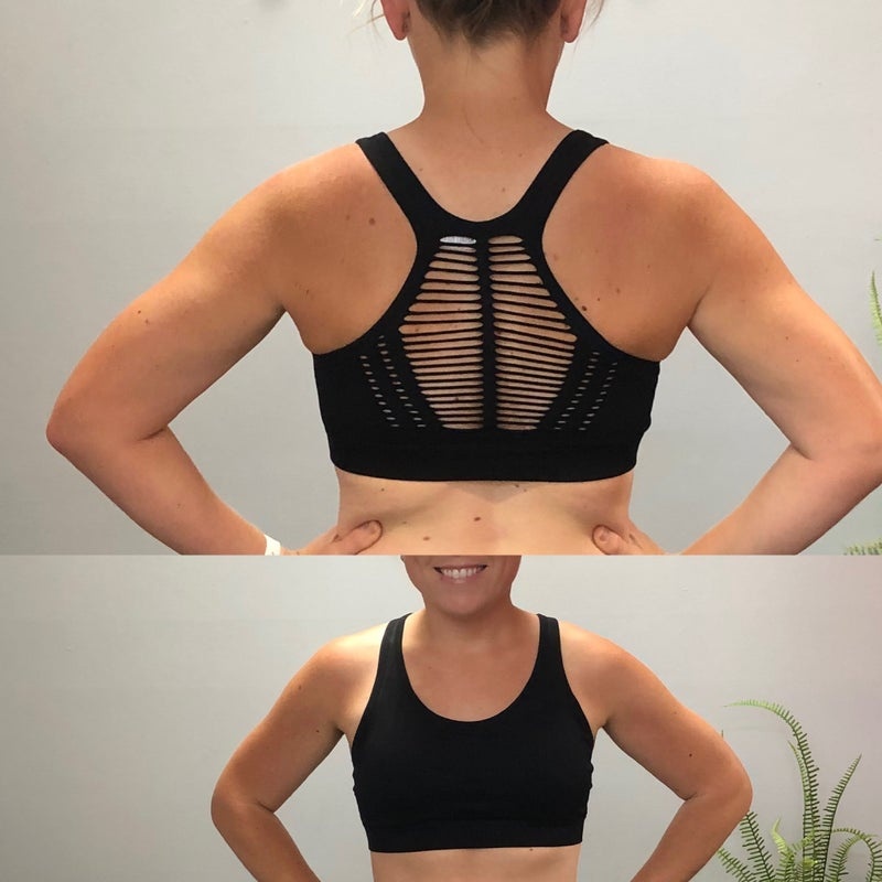 Cut out back detail sports bra