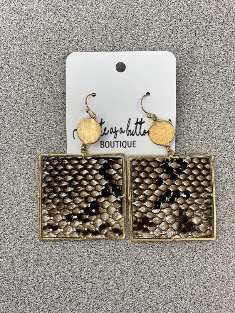 Square snakeskin earrings