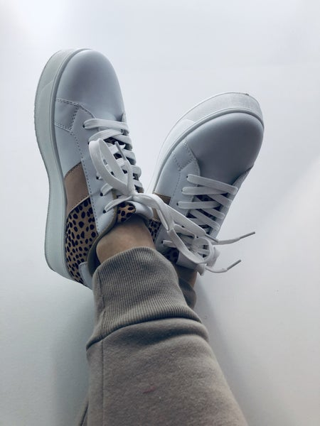 White/Leopard lace up Sneaker
