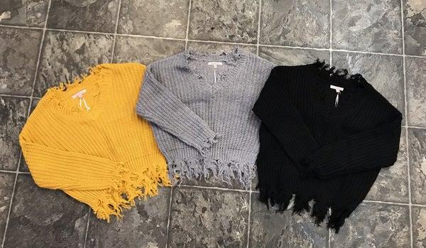 Tattered V Neck Sweater