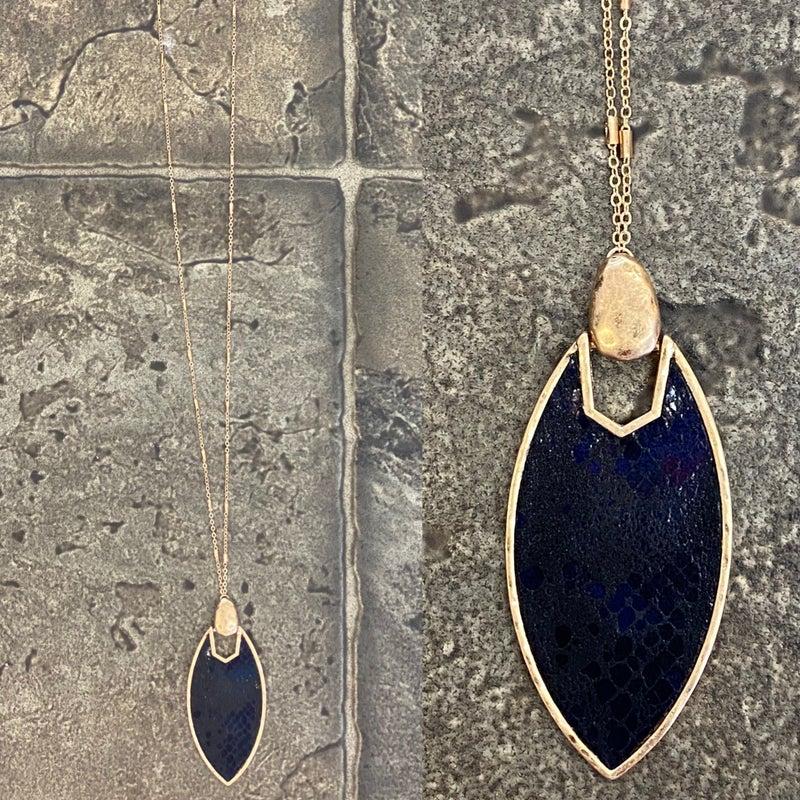 Black snakeskin necklace