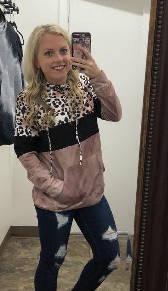 Color block leopard hoodie