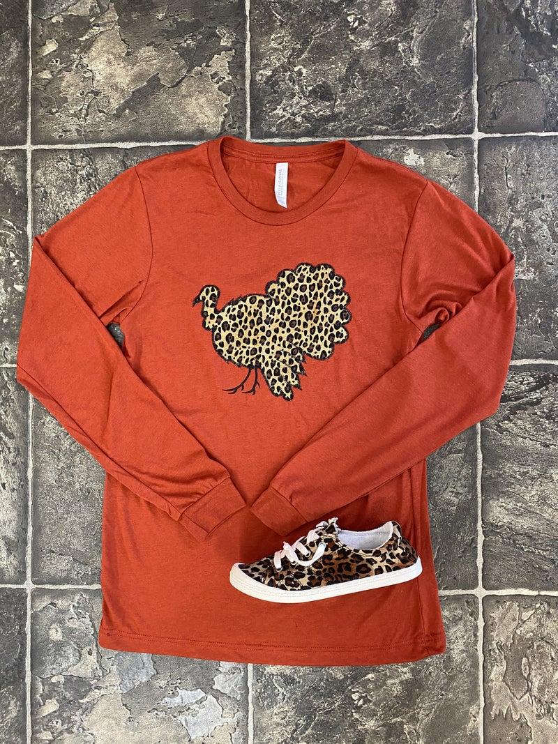Burnt orange LS leopard turkey tee