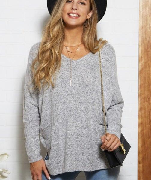 Oversized Light Grey Tunic With Pockets