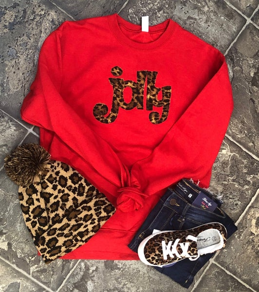 2410 Red Sweatshirt With Leopard Jolly