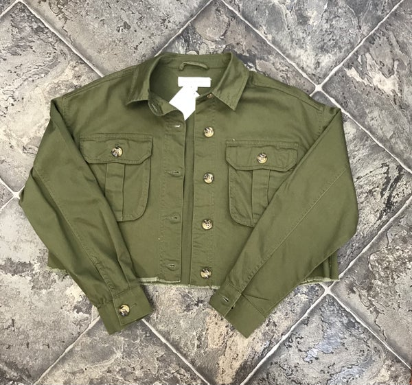 Olive button down jacket