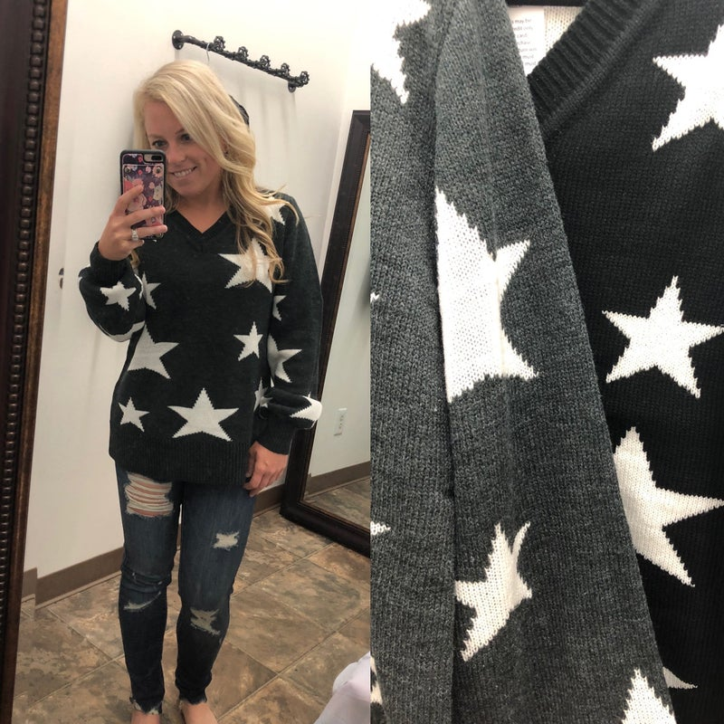 Star v neck sweater