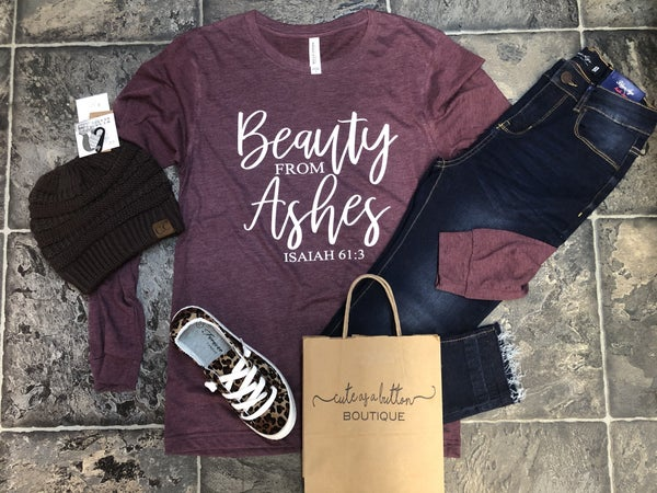 Beauty from ashes long sleeve tee