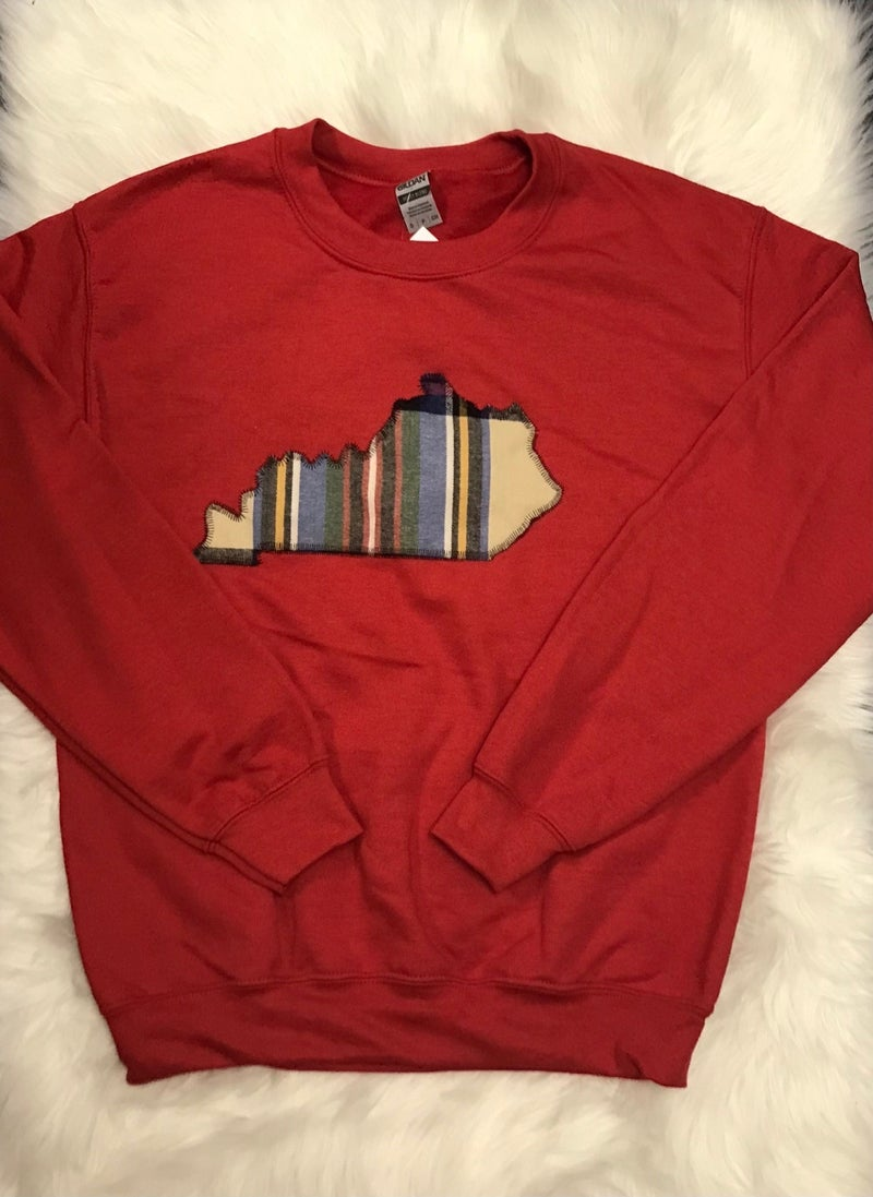 Red Sweatshirt With Plaid State