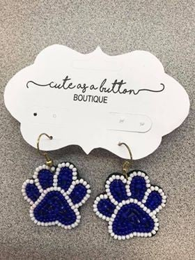 Small Beaded Paw Earring