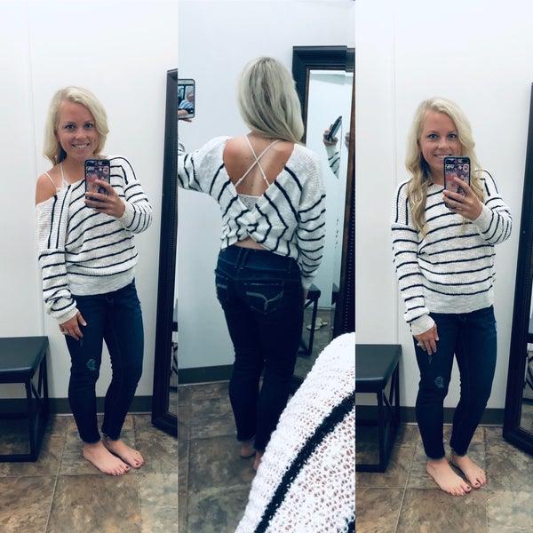 Striped twist back light sweater
