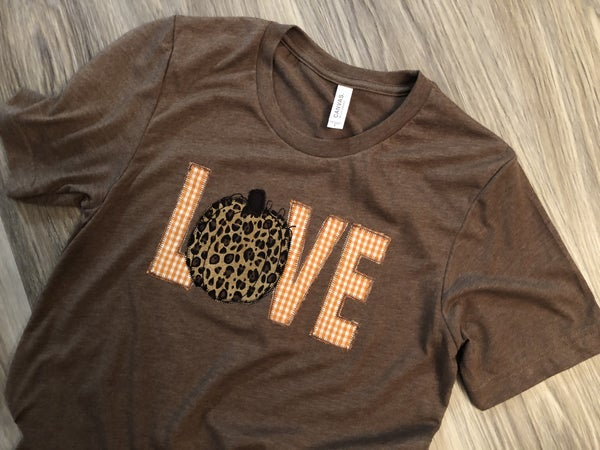 Love pumpkin appliqued tee