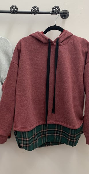 Hoodie With Plaid Bottom Layer