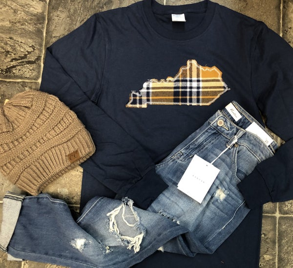 Navy plaid state long sleeve