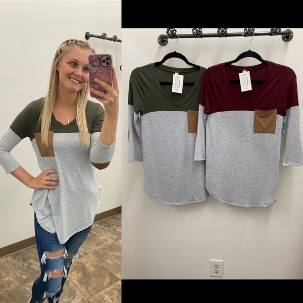 Pocket and Elbow Patch Top