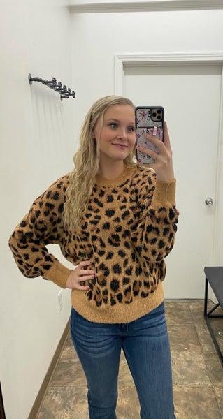 Fuzzy leopard sweater