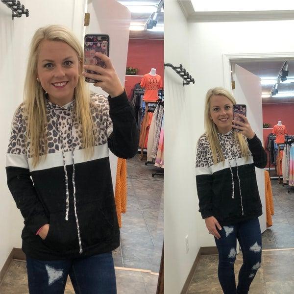 Black leopard hoodie color block