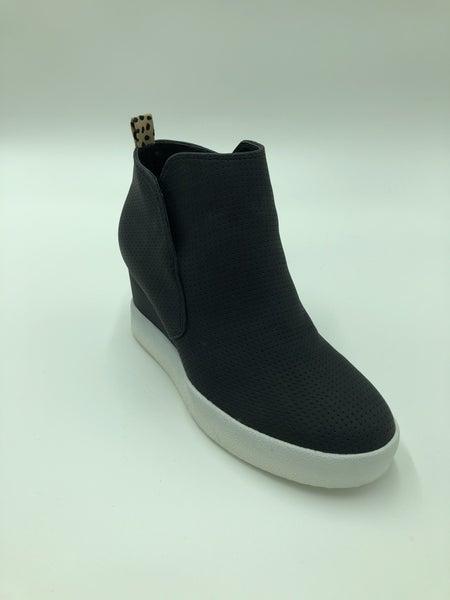 Black perforated wedge sneaker