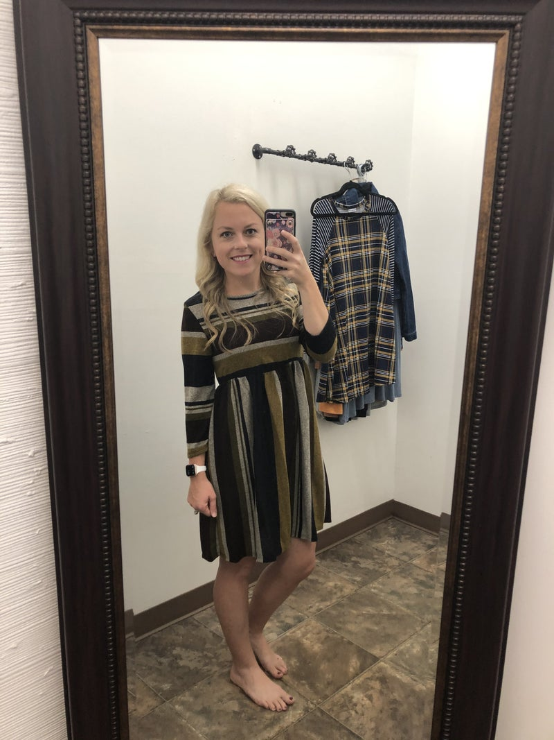 Brown and Olive Stripe Dress