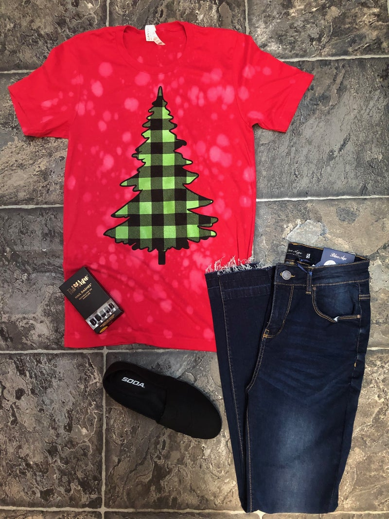 Bleached Plaid Christmas Tree Tee