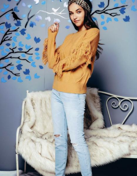 Mustard Fringed Sleeves Sweater