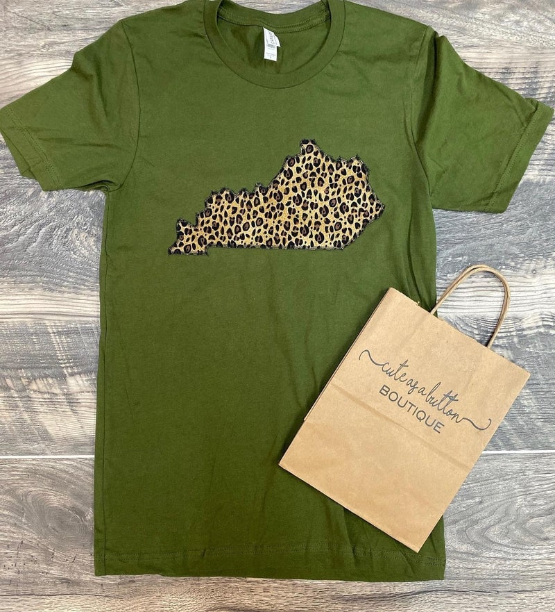 Olive leopard state tee