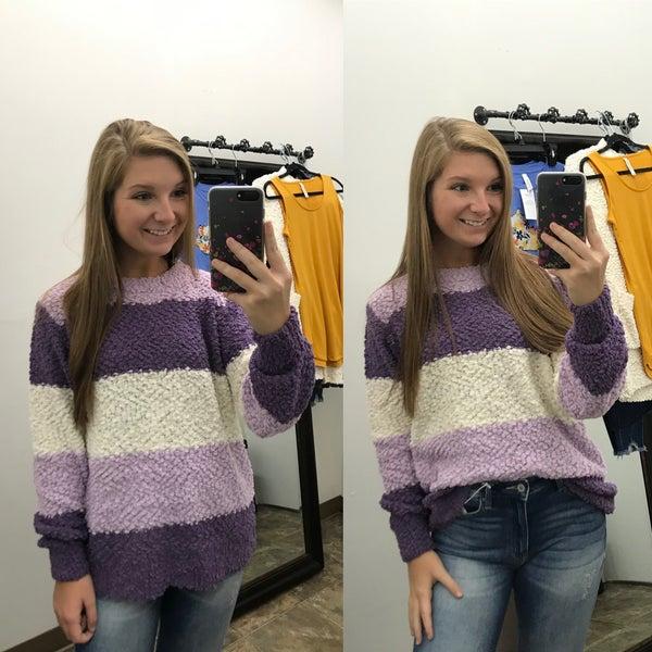 Purple Striped Popcorn Pullover Sweater