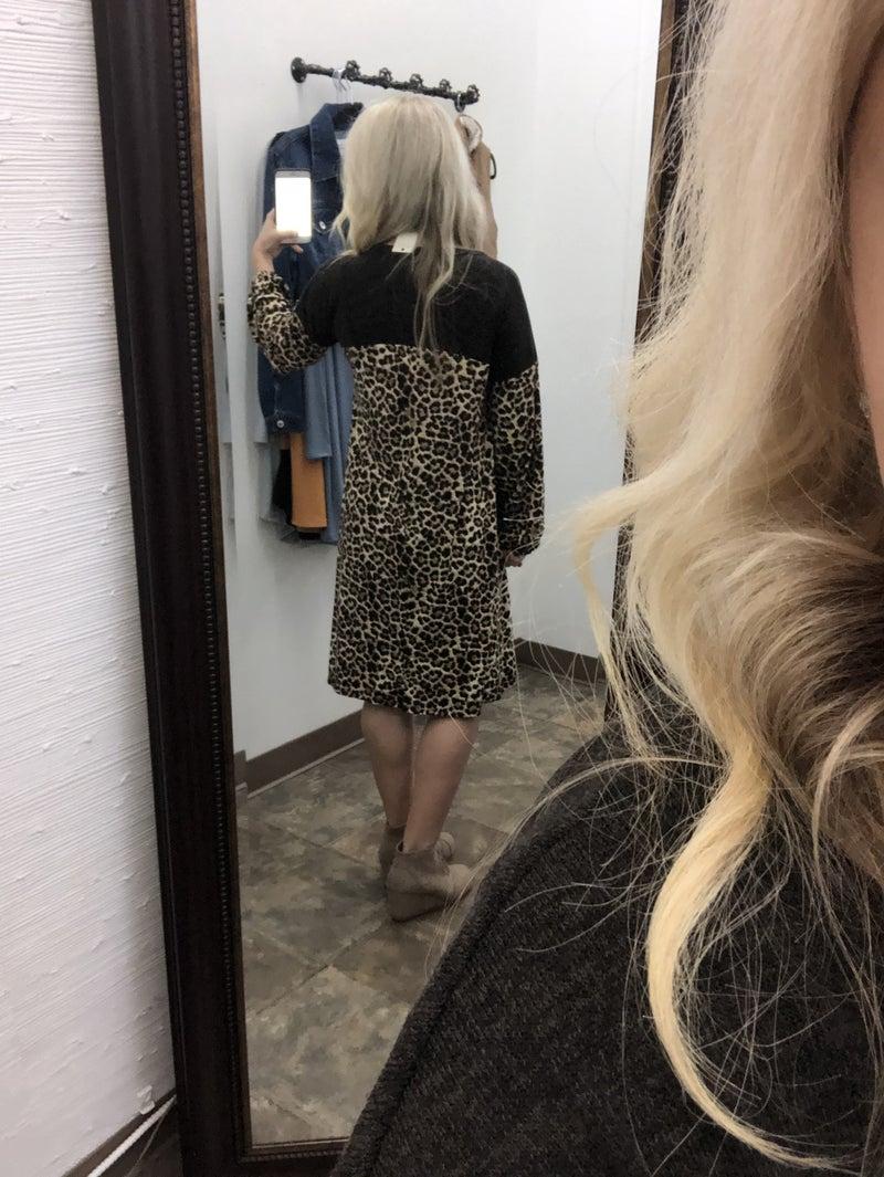Bishop Sleeve Leopard Print Color Block Dress