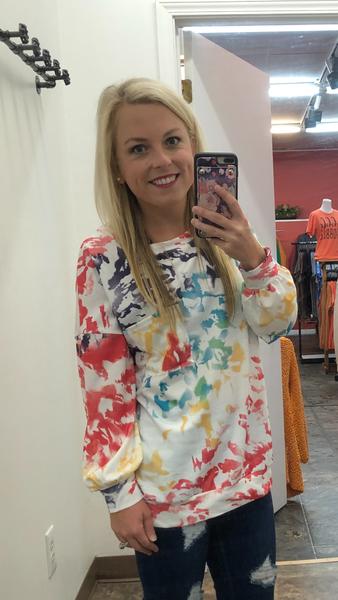 Rainbow splatter pullover