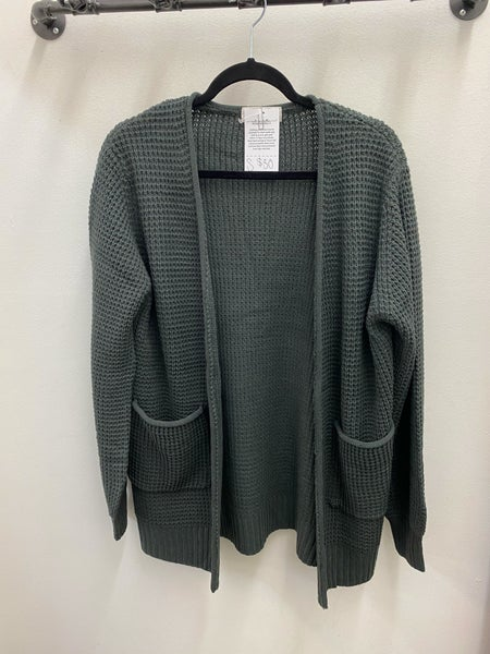 Charcoal waffle knit cardigan