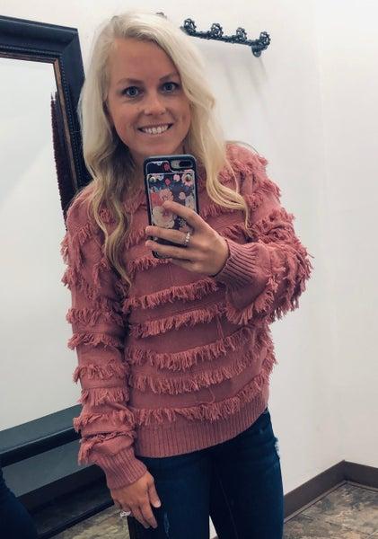Clay Fringe Sweater