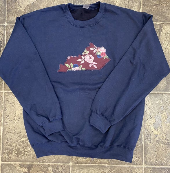 Navy sweatshirt with maroon floral state