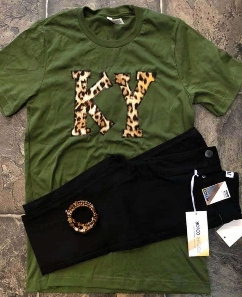 Olive & Leopard KY Tee