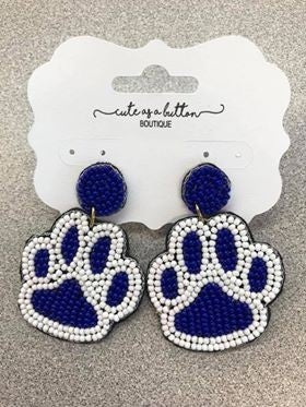 Medium Beaded Paw Earrings