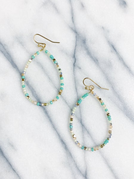 Manhattan Beaded Teardrop Earrings - Turquoise