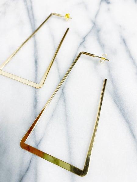 Layla Rectangle Hoop Earrings - Gold