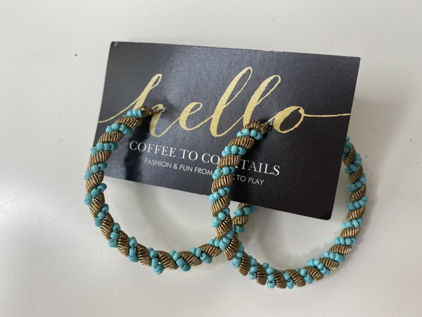 Turquoise Bead + Gold Mesh Hoops