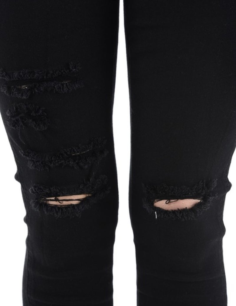 FINAL SALE - Slayden Distressed Ankle Skinnies - Black