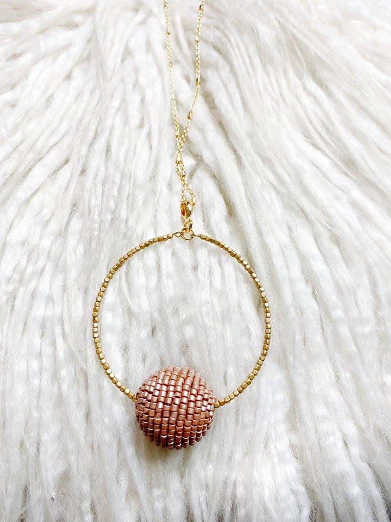 Lennon Beaded Pendant Necklace - Champagne