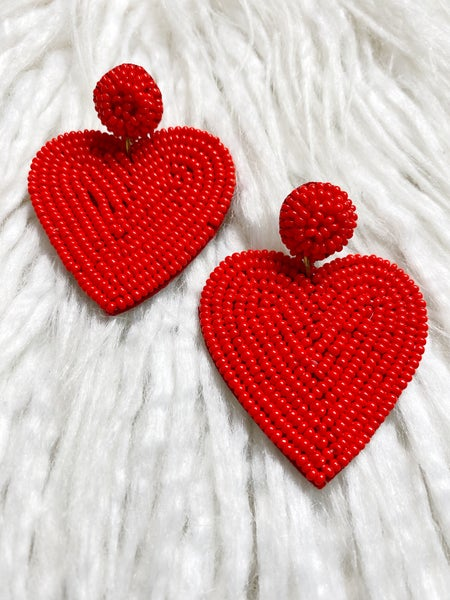 Valentina Beaded Heart Drops - Red
