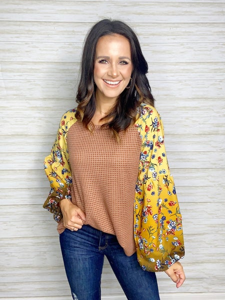 Camila Floral Sleeve Thermal Knit