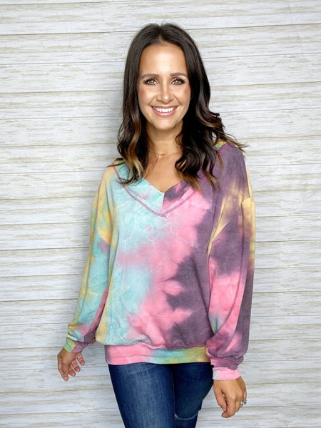 FINAL SALE - Abby Long Sleeve Tie Dye - Pink/Purple