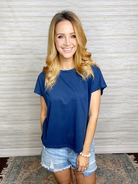Lola Solid Knit Top - Navy
