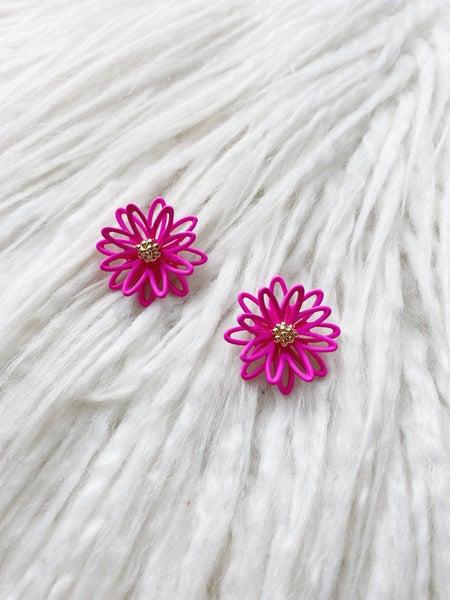 Lahaina Flower Studs - Fuschia